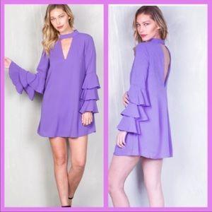 Dresses & Skirts - Purple ruffle tiered bell sleeve dress